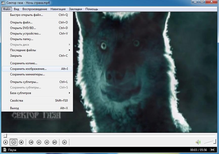 Сохранение изображения из видео файла