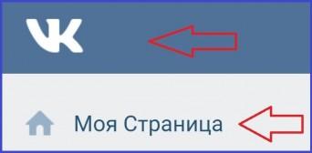 Логотип вверху на странице ВКонтакте