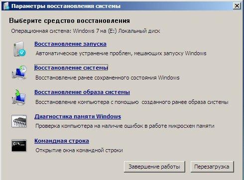 Параметры восстановления системы Windows 7