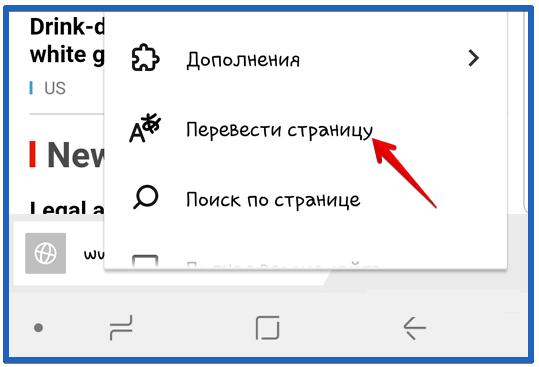 Опция - Перевести страницу