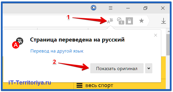 Показ оригинального перевода в Яндекс браузере
