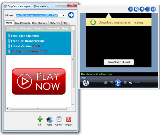 Окно с видео-трансляцией в SopCast