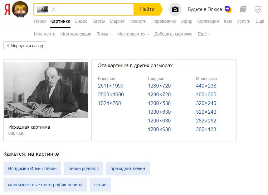 Результаты поиска по изображению в Yandex